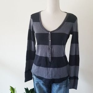 Victoria's Secret Striped Thermal Sleep Top Small